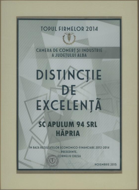 Distinctie de excelenta - Topul Firmelor - 2014