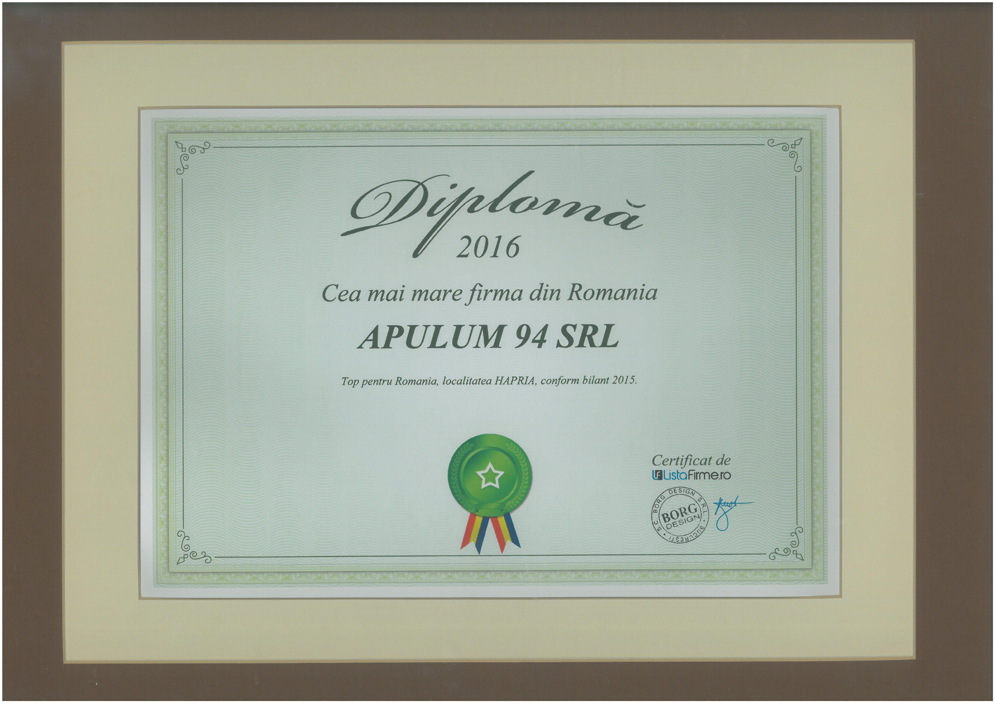 Diploma - Cea mai mare firma din Romania - 2016