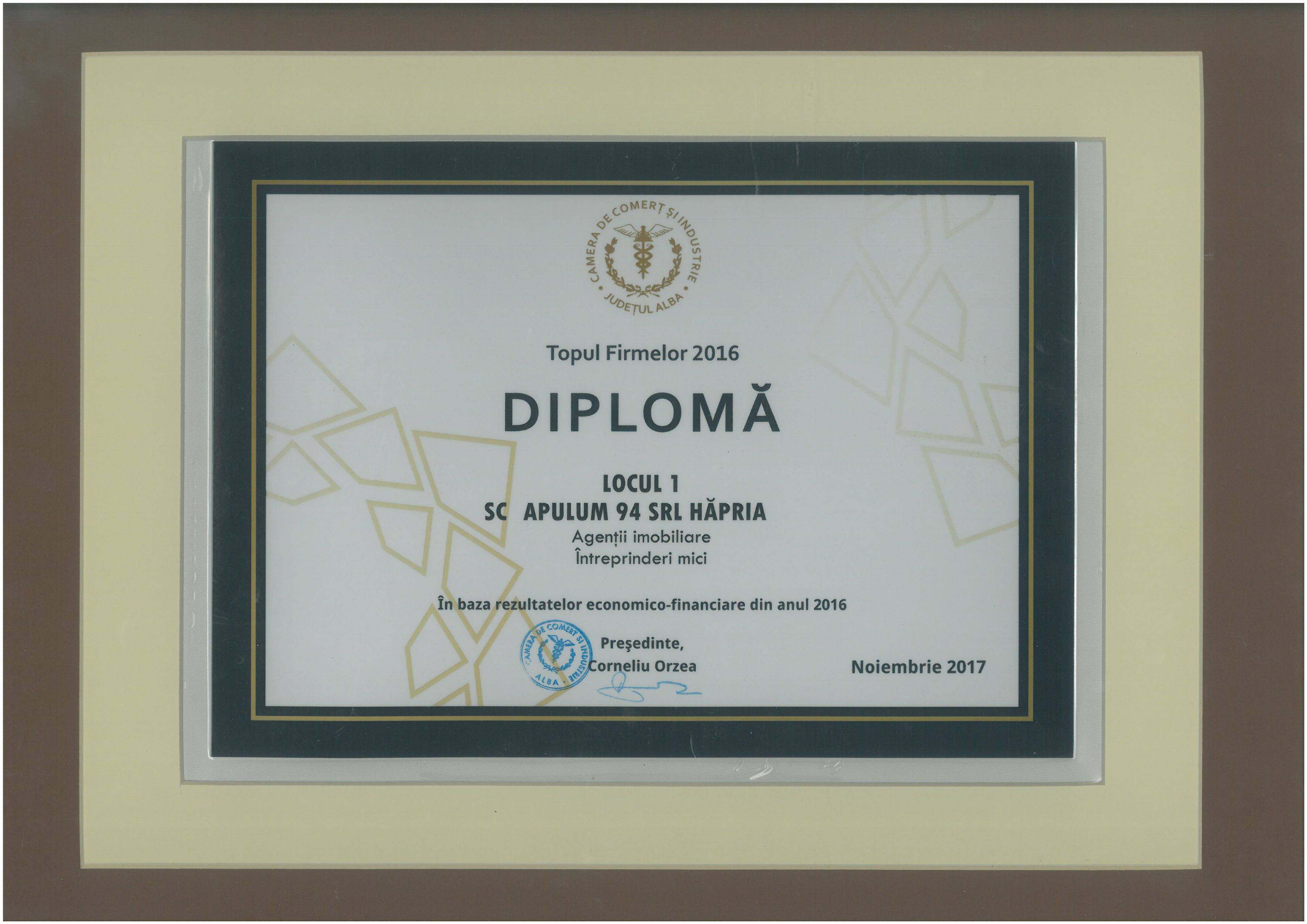 Diploma - Topul Firmelor - 2016