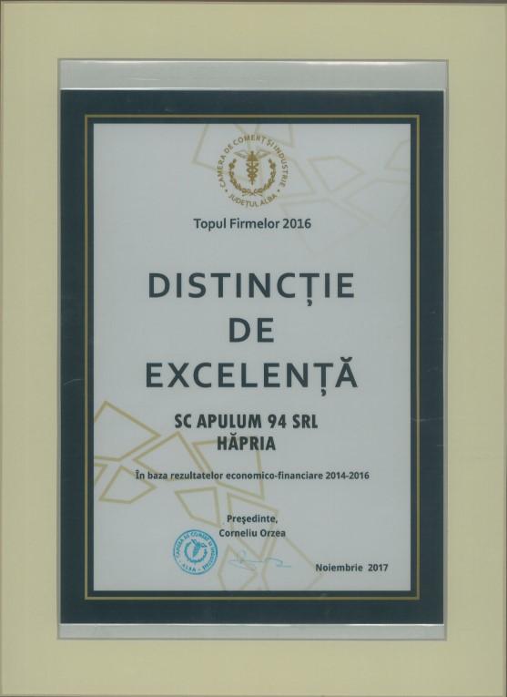 Distinctie de excelenta - Topul Firmelor - 2016