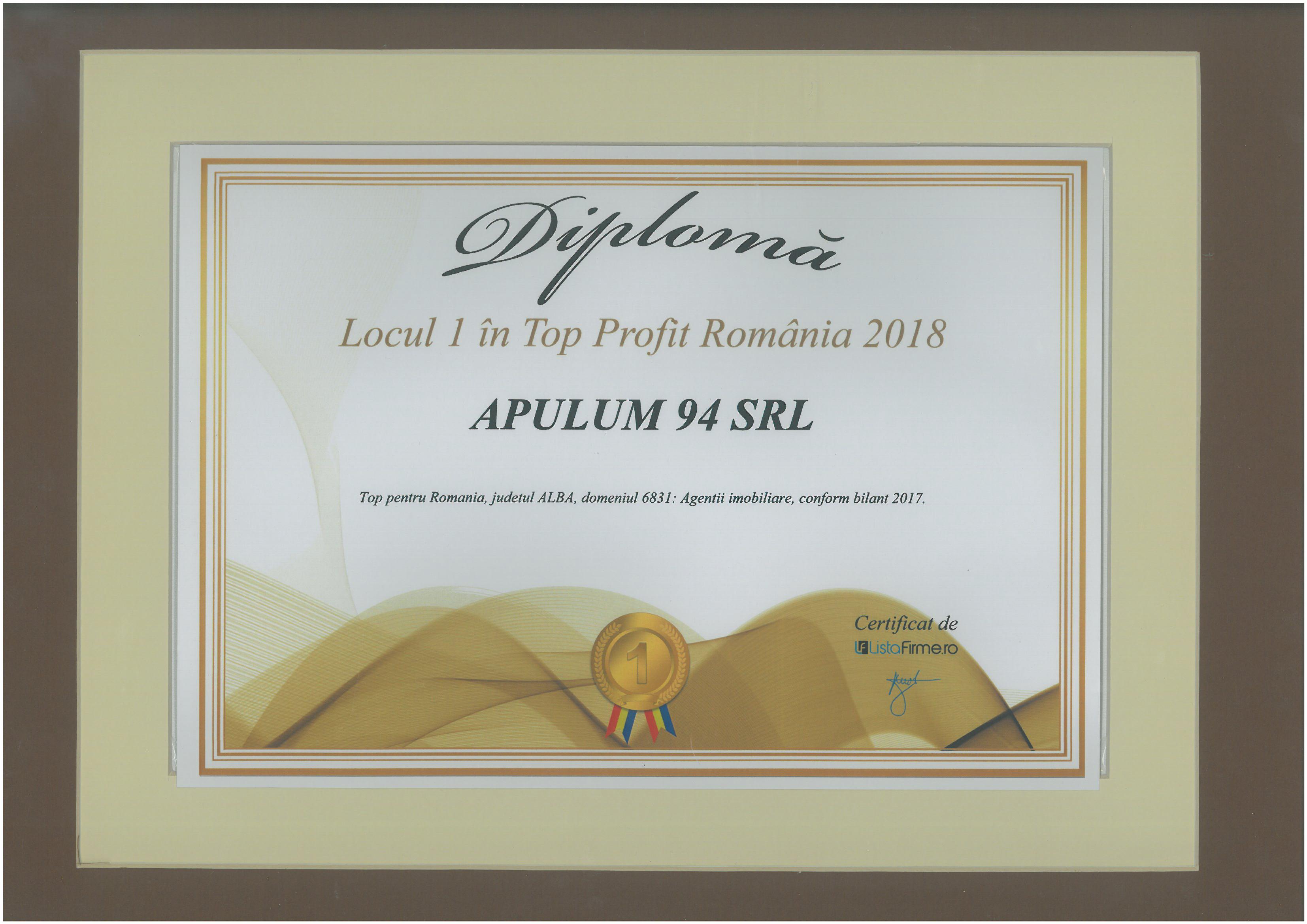 Diploma Top Profit Romania – 2018 - Locul 1
