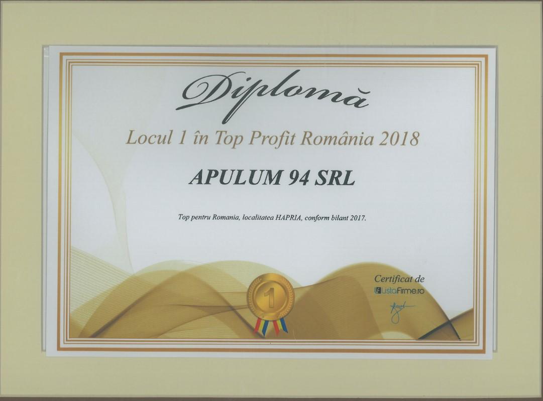 Top Profit Romania – 2018 - Locul 1 - localitatea Hapria
