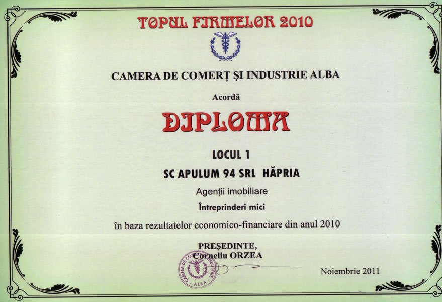 Anul 2010 – Diploma – Alba