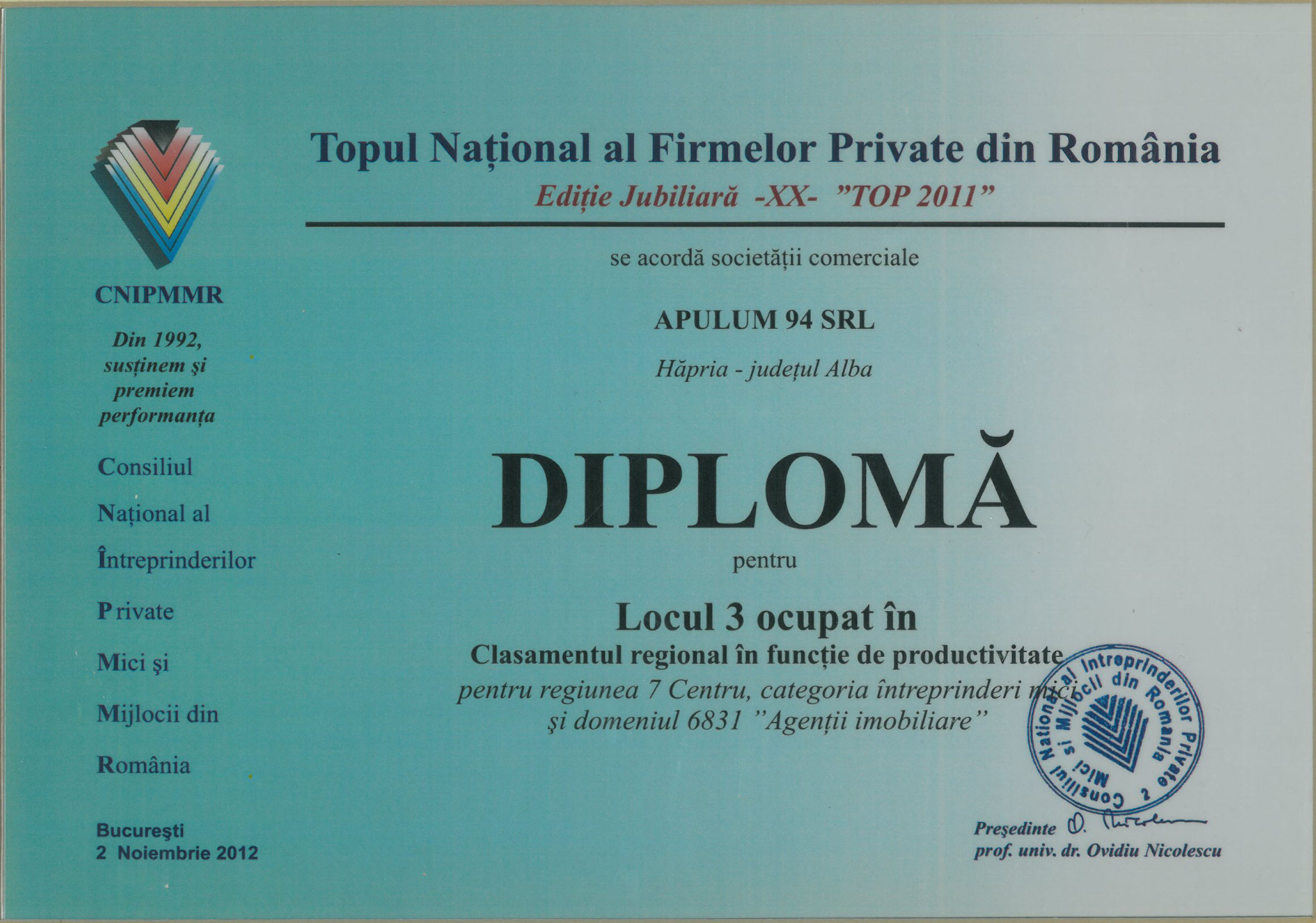 Topul National al Firmelor Private din Romania – 2012