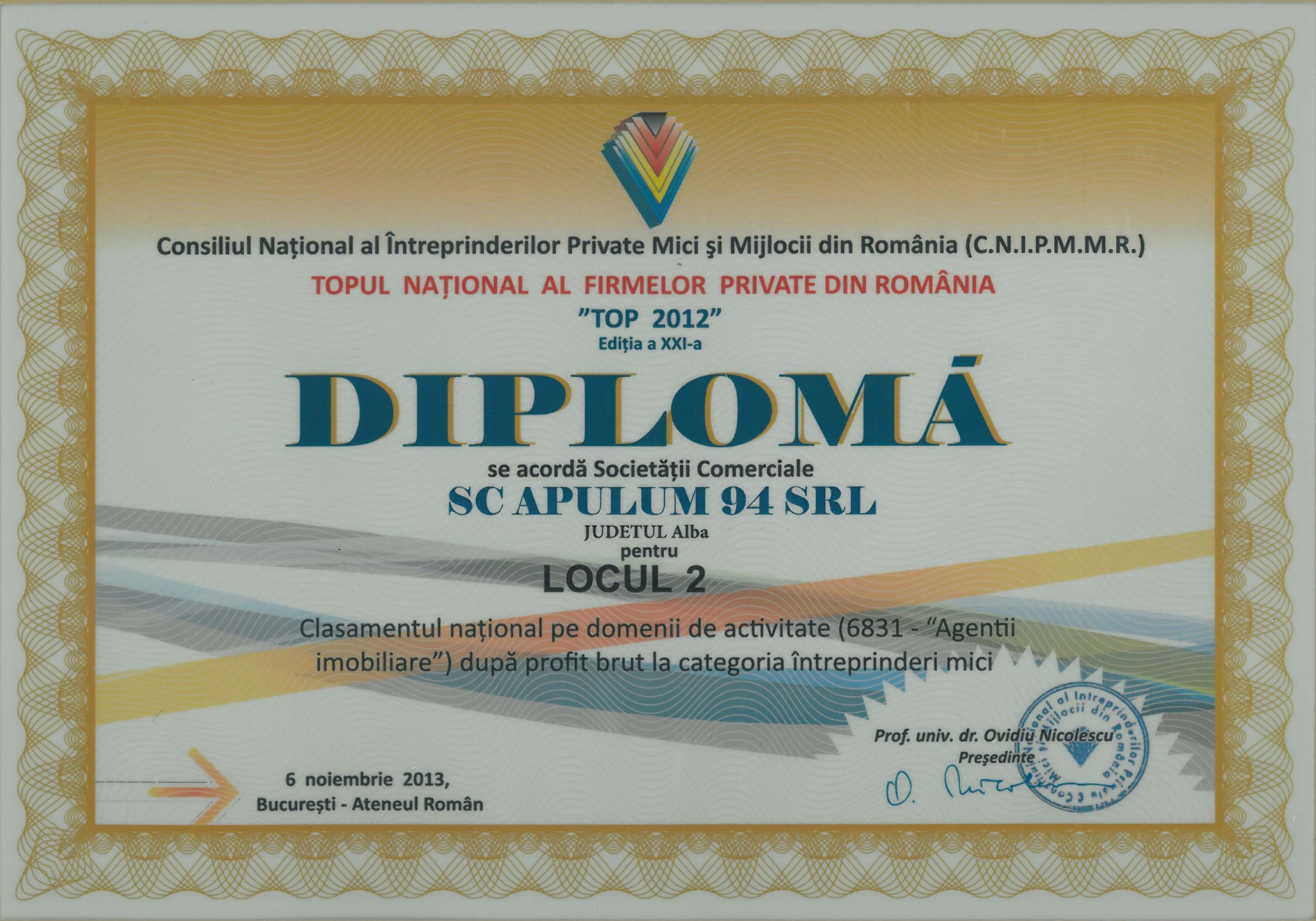 Topul National al Firmelor Private din Romania – 2013