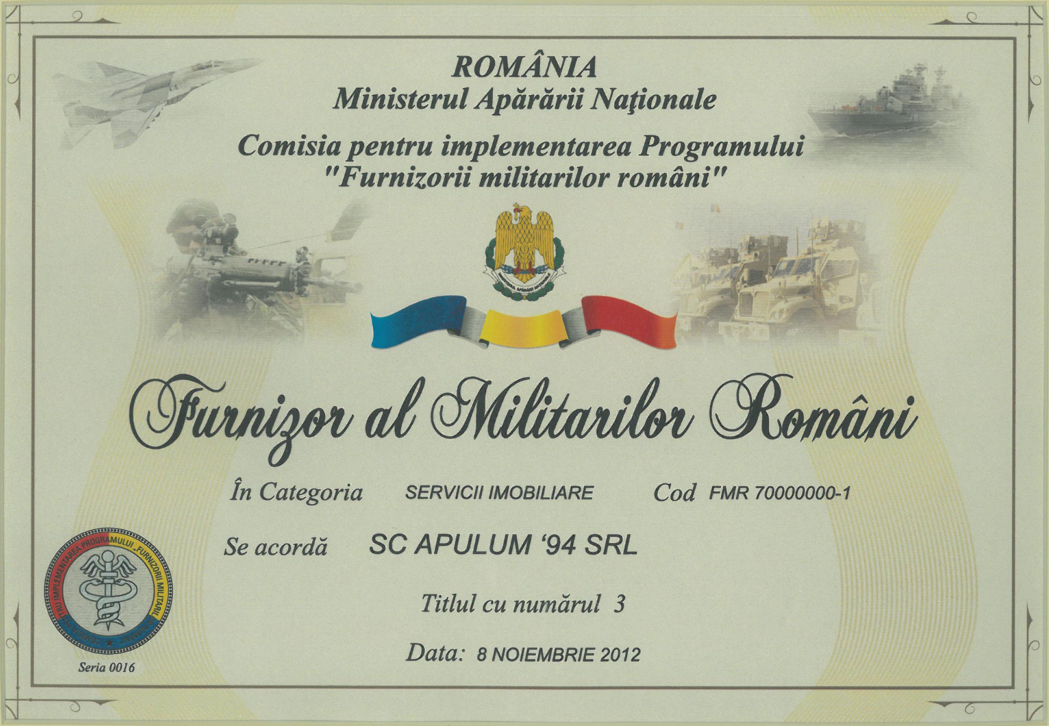 Furnizor al Militarilor Romani – 2012